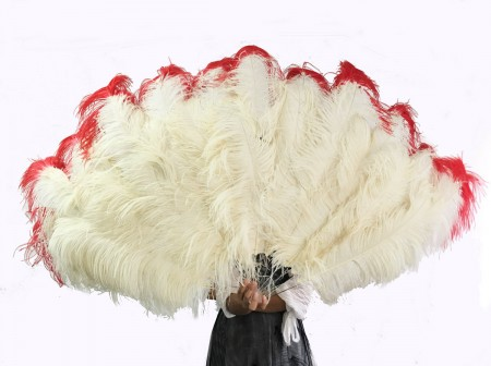 Beige tip dye red Large XL 2 Layer Ostrich Feather Fan 34''x 60'' with Travel leather Bag