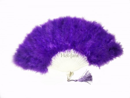 violet petite Marabou feather fan costumes Ladies Fancy Dress Wedding party 20""