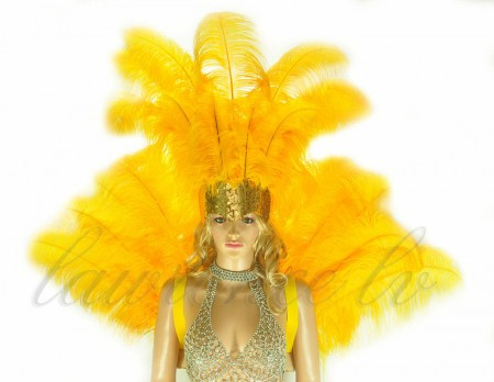Golden Yellow Open Face Headdress & backpiece Ostrich Feather Set