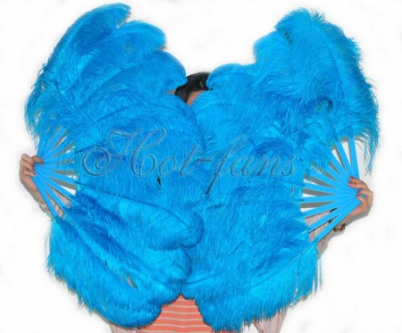 "A pair turquoise Single layer Ostrich Feather fan 24""x 41"" with leather travel Bag"