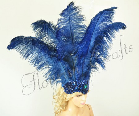 navy Sharp Angle Ostrich Feathers Open Face  Headgear Headdress