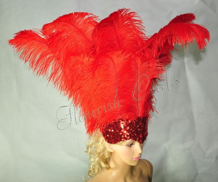 red Sharp Angle Ostrich Feathers Open Face  Headgear Headdress