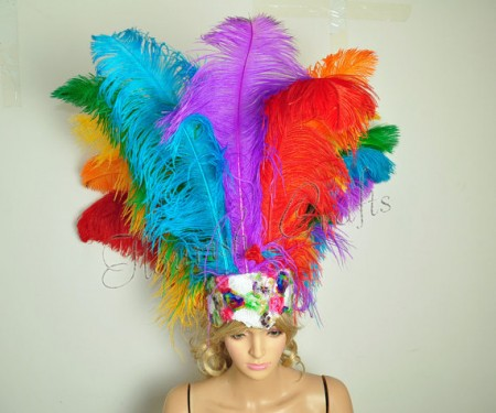 Rainbow Sharp Angle Ostrich Feathers Open Face  Headgear Headdress
