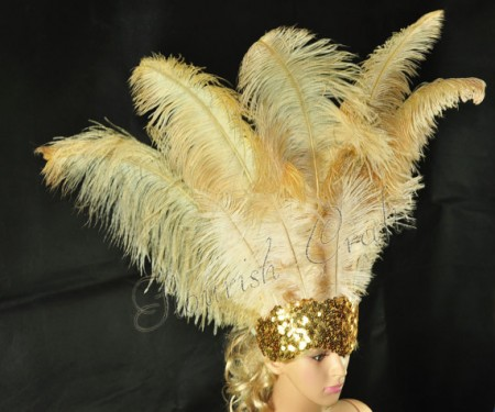 wheat Sharp Angle Ostrich Feathers Open Face  Headgear Headdress
