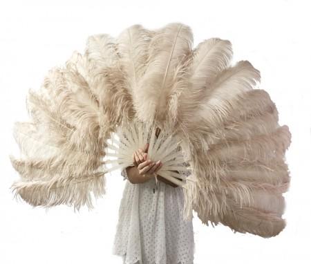 "A pair Beige camel Single layer Ostrich Feather fan 24""x 41"" with leather travel Bag"