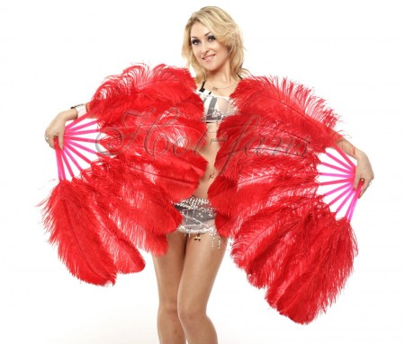 "A pair red Single layer Ostrich Feather fan 24""x 41"" with leather travel Bag"