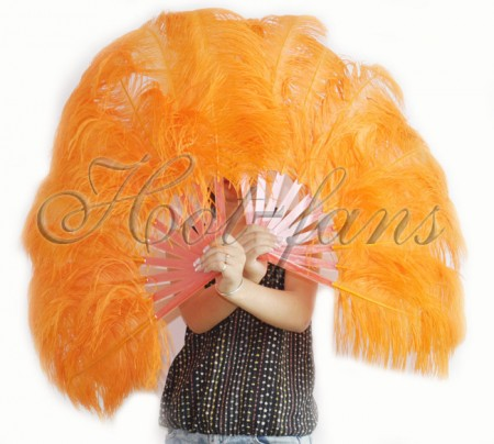 "A pair orange Single layer Ostrich Feather fan 24""x 41"" with leather travel Bag"