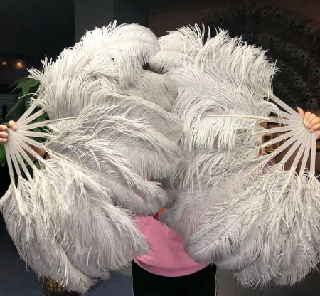 "A pair light grey Single layer Ostrich Feather fan 24""x 41"" with leather travel Bag"