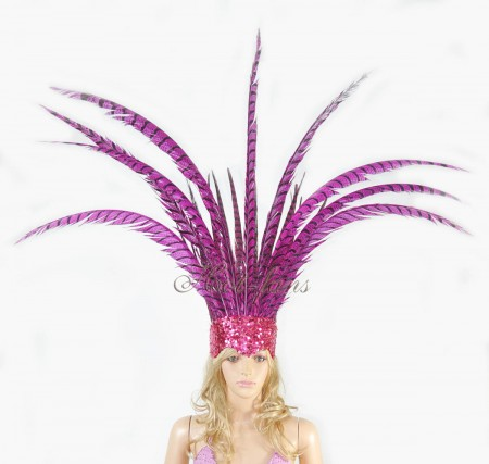 hotpink Open Face Pheasant Feathers Headdress headgear with Sequins crown