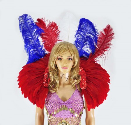 showgirl mix color USA flag sequins ostrich feather shoulder back piece