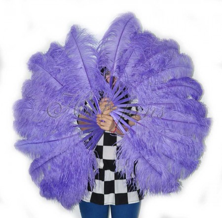 """A pair aqua violet Single layer Ostrich Feather fan 24""""x41"""" burlesque dancer with gift box"""