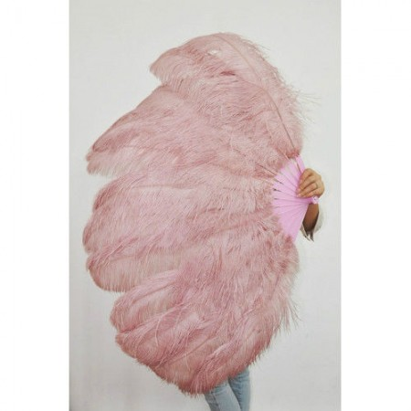 "beige wood 2 layers Ostrich Feather Fan Burlesque dancer friends 30""x 54"" with leather travel Bag"