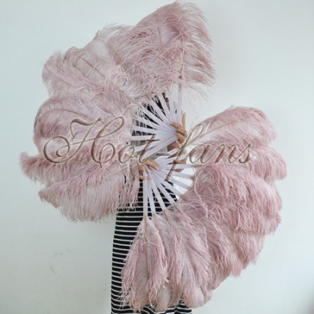 """A pair beige wood Single layer Ostrich Feather fan 24""""x41"""" burlesque dancer with gift box"""