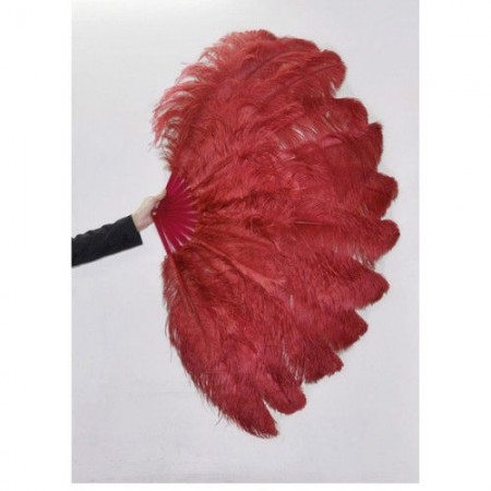 """burgundy 2 layers Ostrich Feather Fan Burlesque dancer friends 30""""x 54"""" with leather travel Bag"""