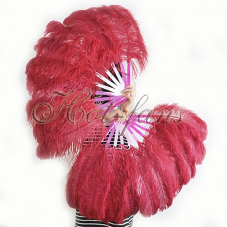 "A pair burgundy Single layer Ostrich Feather fan 24""x41"" burlesque dancer with gift box"