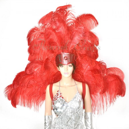 Red Ostrich Feather Open Face Headdress & backpiece Set