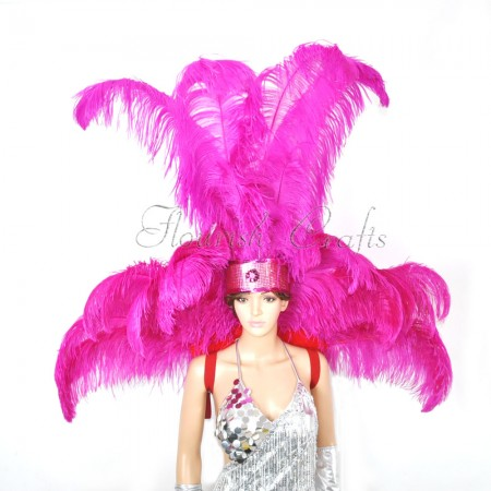 Hot pink Ostrich Feather Open Face Headdress & backpiece Set