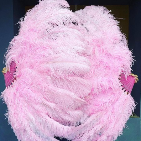 "pink XL 2 layers Ostrich Feather Fan Burlesque dancer friends 34""x 60"" with leather travel Bag"