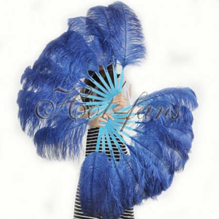 "A pair navy Single layer Ostrich Feather fan 24""x 41"" with leather travel Bag"