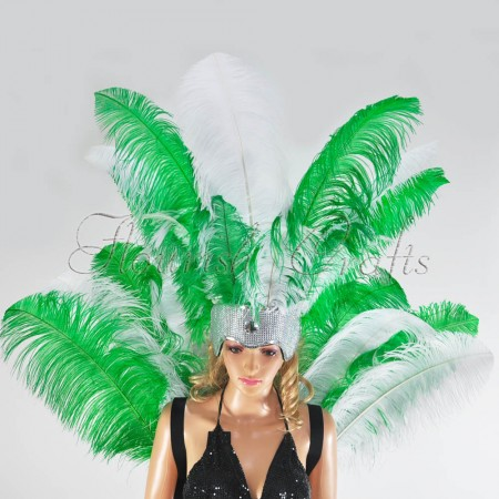 green mix white color Ostrich Feather Open Face Headdress & backpiece Set