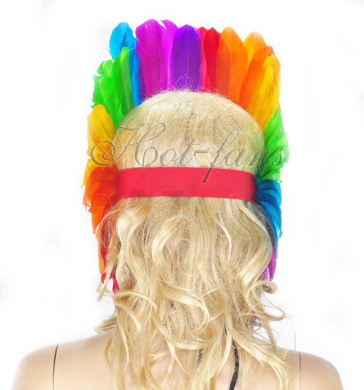 Rainbow feather sequins crown LasVegas showgirl headpiece headdress