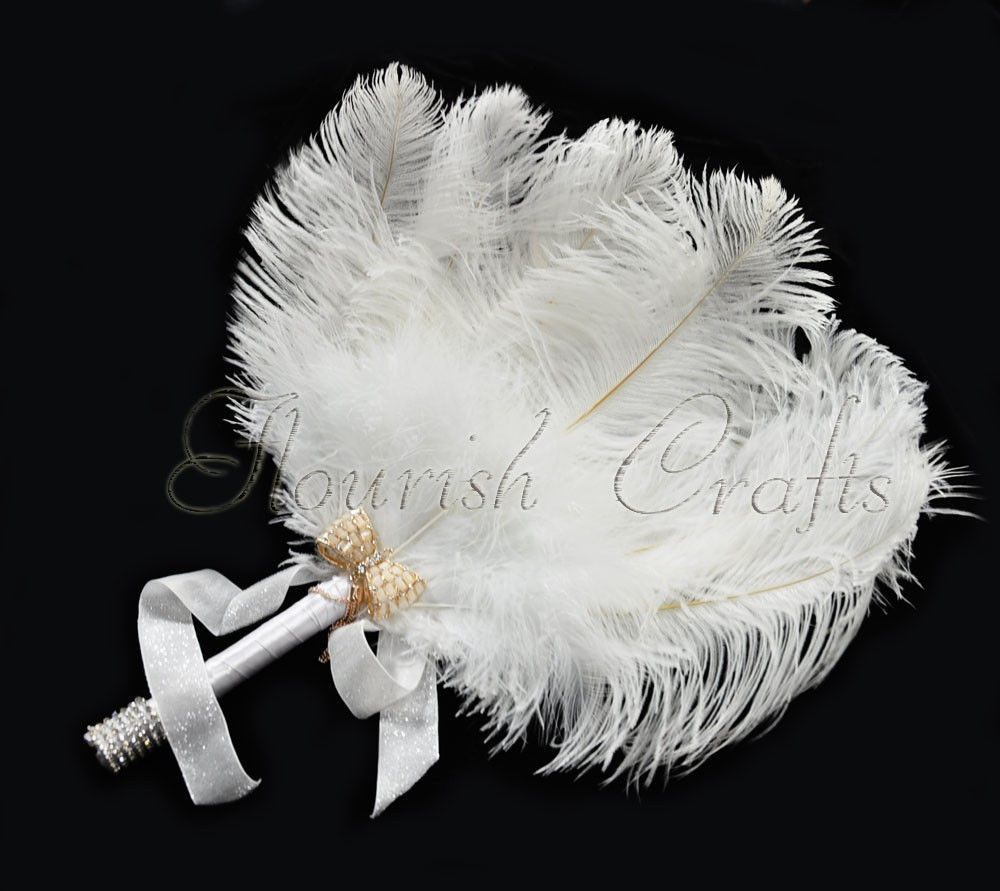 White Bridal Bouquet Ostrich Feather Fan Bridesmaid wedding favors ...
