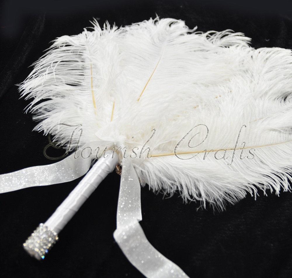 White Bridal Bouquet Ostrich Feather Fan Bridesmaid wedding favors ...