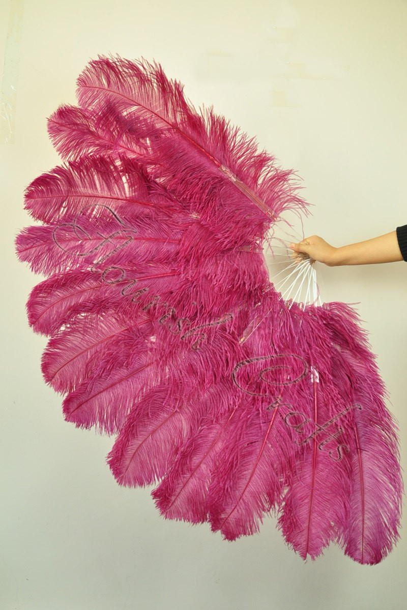 "pink XL 2 layers Ostrich Feather Fan 34/"" x 60/"" with leather Travel Bag"