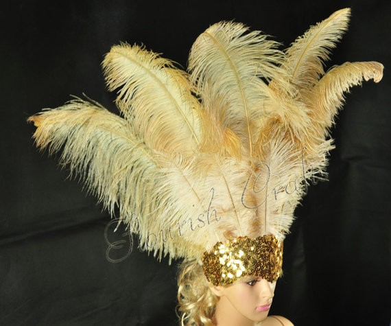 wheat Sharp Angle Ostrich Feathers Open Face Headgear Headdress ...