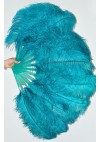 "A pair teal Single layer Ostrich Feather fan 24""x 41"" with leather travel Bag"