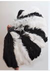 "Burlesque friend Mix black and white 3 Layers Ostrich Feather Fan 65"" with Travel leather Bag"