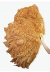 "Burlesque friend topaz 3 Layers Ostrich Feather Fan 65"" with Travel leather Bag"