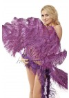 "Dark purple single layer Ostrich Feather Fan 25""x 45"" with leather travel Bag"
