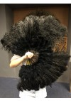 "black Marabou Ostrich Feather fan  21""x 38"" with Travel leather Bag"