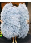 Baby blue Luxury 4 Layers  Ostrich Feather Fan fluffy with Boa Opened 67'' Burlesque