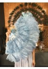 "baby blue Marabou Ostrich Feather fan 21""x38"" with Travel leather Bag"