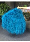"Burlesque Blue Waterfall Fan Fluffy Ostrich Feathers Boa Fan 42""x 78"""