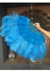 "turquoise Marabou Ostrich Feather fan  21""x 38"" with Travel leather Bag"