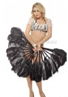 """A pair Black Single layer Ostrich Feather fan 24""""x 41"""" with leather travel Bag"""