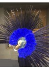 "Blue Marabou and Pheasant Feather Fan 29""x 53"" with Travel leather Bag"