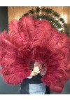 """burgundy Ostrich & Marabou Feathers fan Burlesque dance with Travel leather Bag 24""""x43"""""""