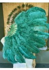 "Forest Green Ostrich & Marabou Feathers fan Burlesque dance  with Travel leather Bag 24""x43"""