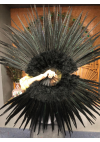 "Black Marabou Pheasant  Feather Fan 29""x 53""  with Travel leather Bag"