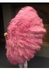 "Burlesque friend Fuchsia 3 Layers Ostrich Feather Fan 65"" with Travel leather Bag"