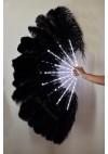 "Black Glittery LED Shine Bushy Double Ostrich Feather Fans Burlesque 28""x 53"""