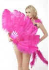 """hot pink single layer Ostrich Feather Fan Burlesque friend 25""""x 45"""" with leather travel Bag"""