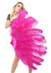 "hot pink 2 layers Ostrich Feather Fan Burlesque dancer friends 30""x 54"" with leather travel Bag"