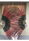 "Black Marabou and red Pheasant  Feather Fan 29""x 53"""