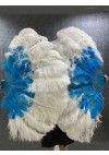 """Mix blue & white 2 layers Ostrich Feather Fan  30""""x 54"""" with leather travel Bag"""