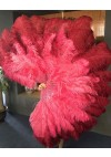 Mix coral red & Burgundy Large XL 2 Layer Ostrich Feather Fan 34''x 60'' with Travel leather Bag